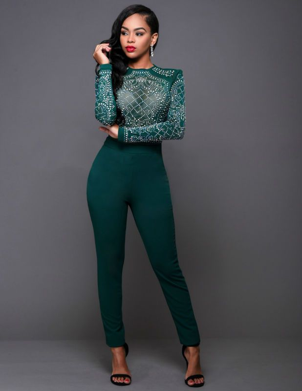 New Season Black Green Red Sexy Diamond Print Long Sleeve Bodysuit ... 0314ceca0